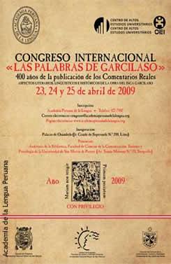 Afiche del Congreso Internacional Las palabras de Garcilaso