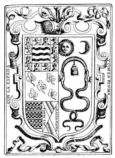 Escudo del Inca Garcilaso de la Vega, diseñado por él mismo. A la izquierda, los símbolos de su ascedencia española ; y a la derecha, los símbolos de su familia materna: el sol, la luna, la mascapaycha y la serpiente.