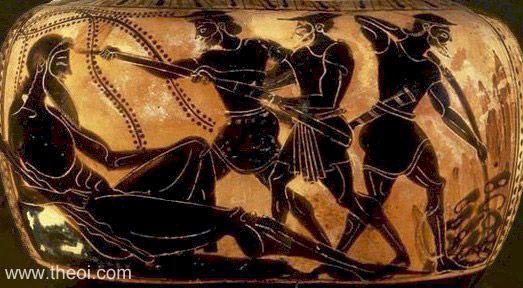 Odiseo y sus hombres cegando al cíclope Polifemo