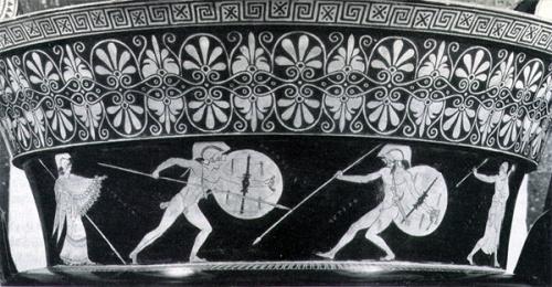 Vasija en la que se representa a Aquiles secundado por Atenea lucha contra Héctor secundado por Artemisa