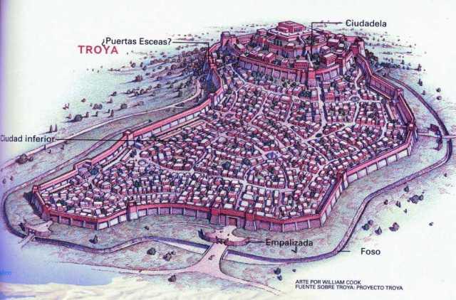 Reconstrucción de la ciudad de Troya a partir de los hallazgos arqueológicos