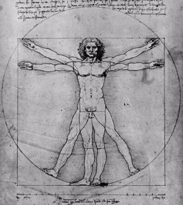 Dibujo de Leonardo da Vinci. El Renacimiento revalora al ser humano y procede a situarlo como el centro de intereses de las artes y las ciencias.