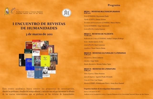 Afiche I Encuentro de Revistas de Humanidades