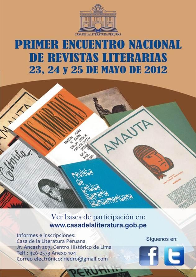 Encuentro nacional de revistas literarias en Casa de la literatura peruana (23, 24 y 25 demayo)