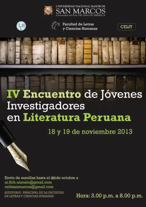 IV ENCUENTRO DE JÓVENES INVESTIGADORES EN LITERATURAPERUANA